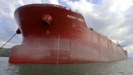 La súper nave vino del puerto de Shangai, en China, y llegó a la Bahía de Paranaguá el pasado 1 de junio.  Foto: Claudio Neves