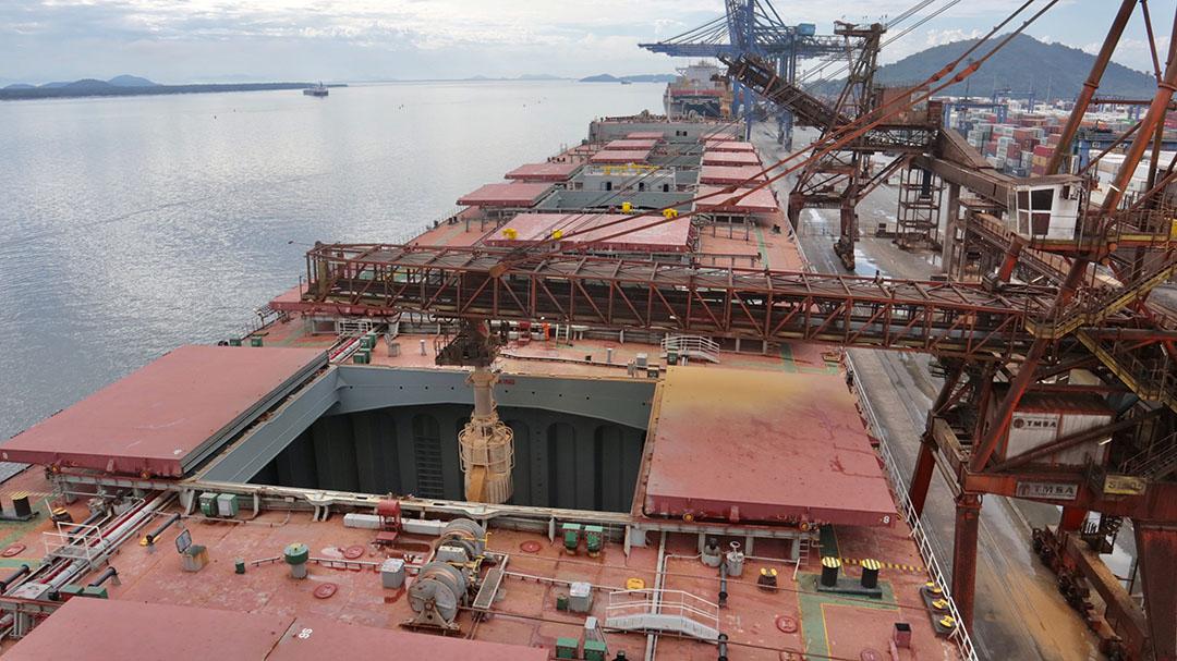 Generalmente, los barcos que llevan carga a granel tienen 5 o 7 bodegas. El granel del Pacífico Sur tiene 9 bodegas para recibir y transportar todo el salvado de soja. Foto: Claudio Neves