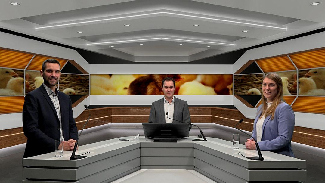 La alineación, de izquierda a derecha: Julien Kanarek de DuPont; Fabian Brockötter, el anfitrión; y Eline Holtslag de Royal Pas Reform Hatchery Technologies. Foto: Misset Uitgeverij