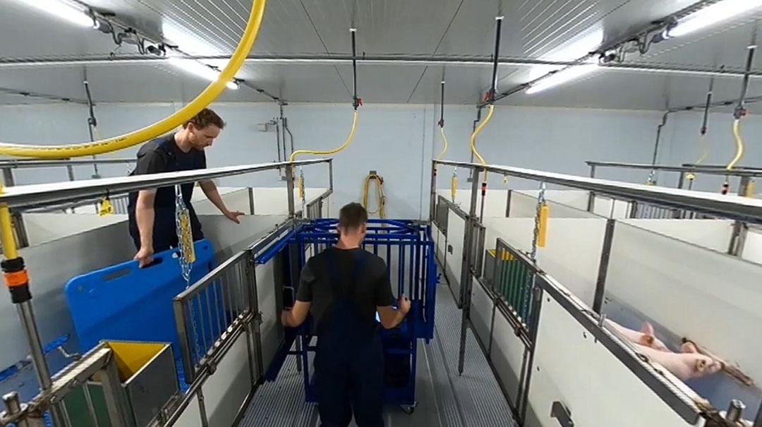 Fotograma de la visita virtual de la nueva unidad, mostrando los amplios pasillos. Foto: Trouw Nutrition