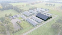 Vista aérea del Centro de Investigación Porcina, donde se destaca la nueva unidad. Foto: Trouw Nutrición