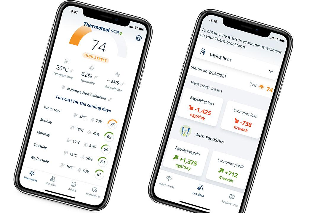 Ejemplo de medición del THI y del índice de riesgo desde la app Thermotool; predicción de los próximos 5 días y datos económicos. Foto: CCPA